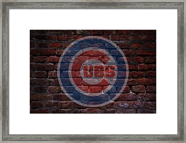 Cubs Baseball Graffiti On Brick  Framed Print