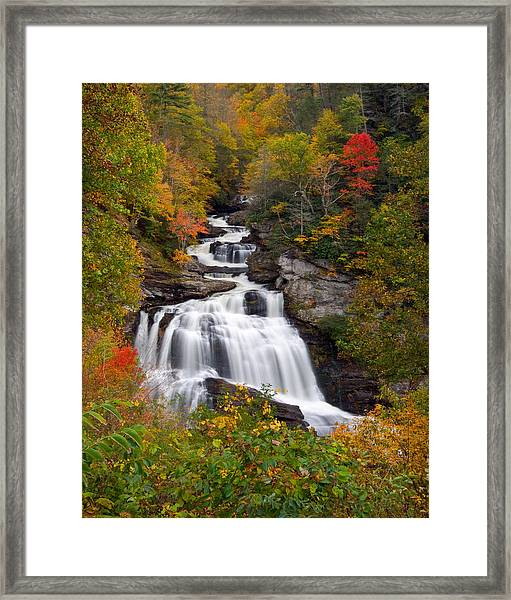 Cullasaja Falls - Wnc Waterfall In Autumn Framed Print