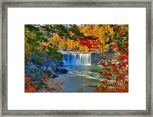 Framed Print featuring the photograph Cumberland Falls In Autumn 2 by Mel Steinhauer