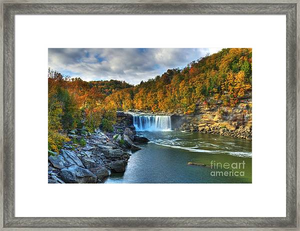 Framed Print featuring the photograph Cumberland Falls In Autumn by Mel Steinhauer