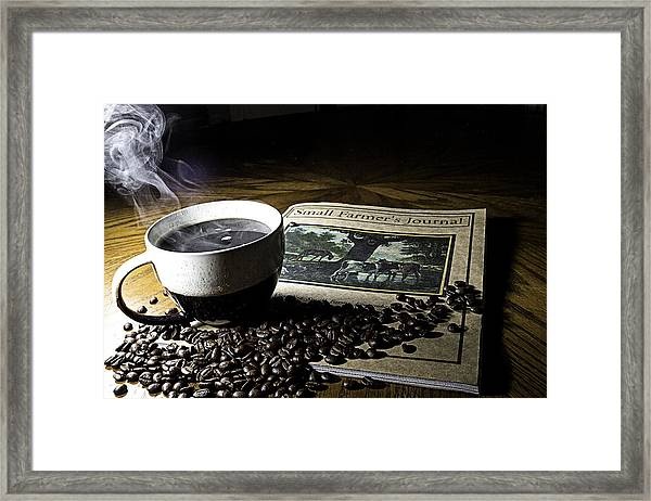 Cup Of Coffee And Small Farmer's Journal 2 Framed Print