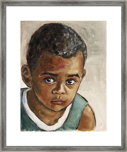 Curious Little Boy Framed Print