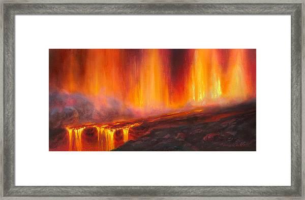 Erupting Kilauea Volcano On The Big Island Of Hawaii - Lava Curtain Framed Print