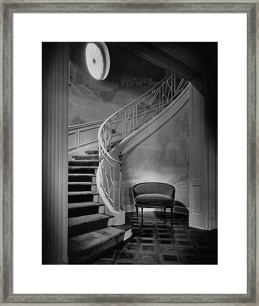Curving Staircase In The Home Of  W. E. Sheppard Framed Print