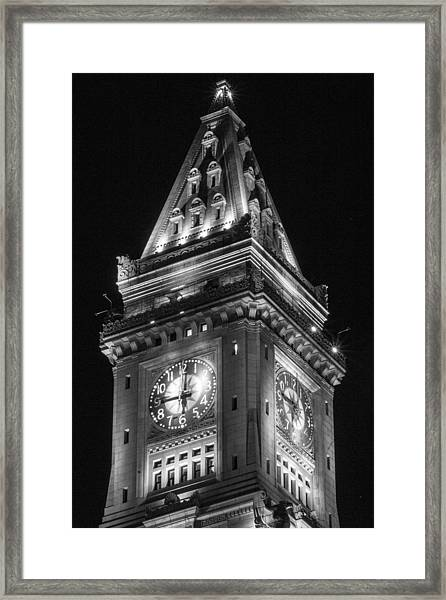 Custom House In Boston Black And White Framed Print