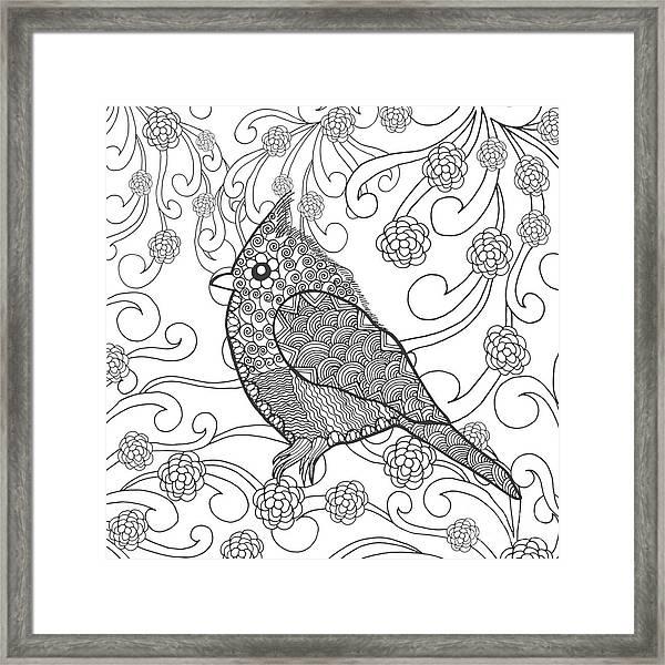 Cute Bird In Fantasy Flower Garden Framed Print by Palomita