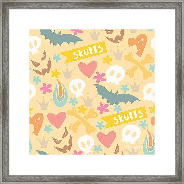 Cute Cartoon Seamless Pattern With Framed Print by Marushabelle