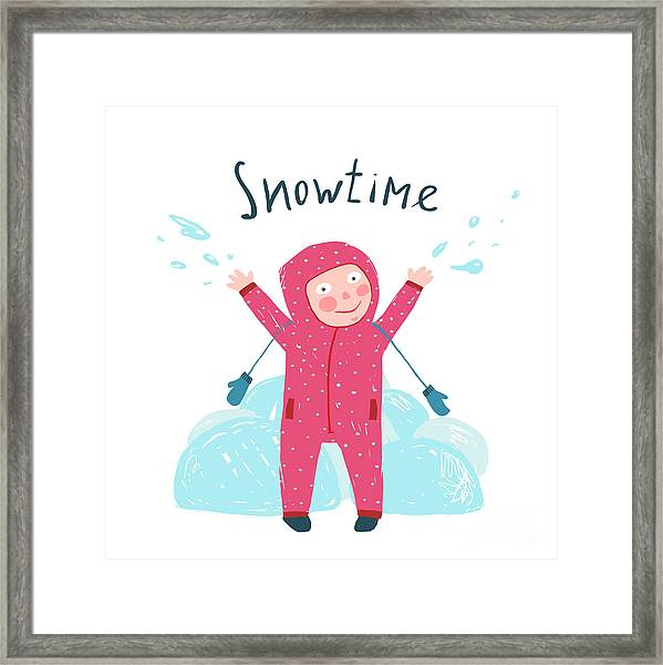 Cute Child Girl In Winter Clothes Framed Print