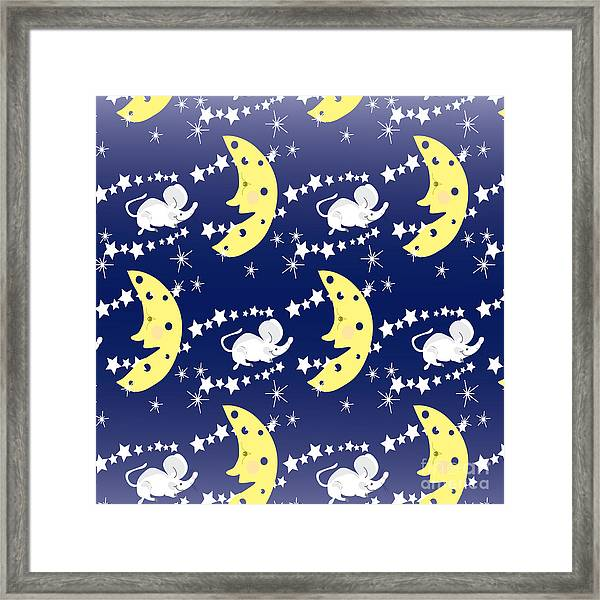 Cute Childish Seamless Pattern With Framed Print