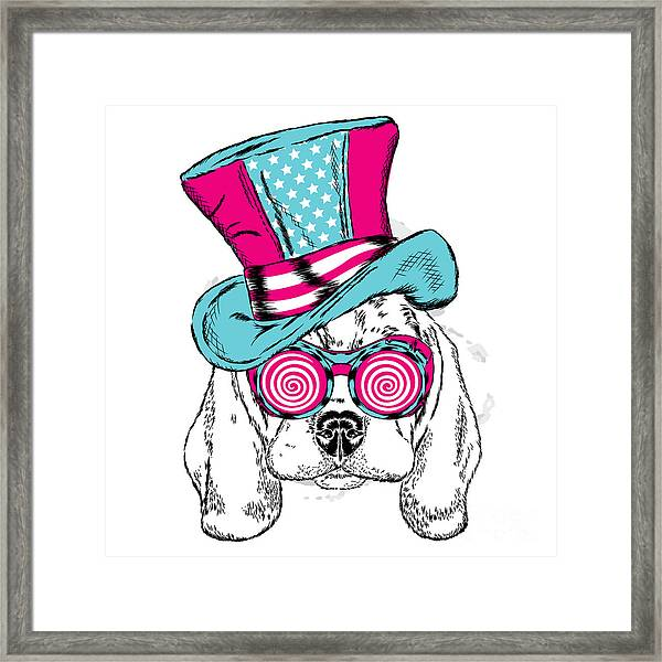 Cute Dog In An Unusual Hat . Vector Framed Print