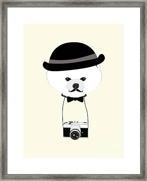 Cute Dog Photographer With Old Camera Framed Print