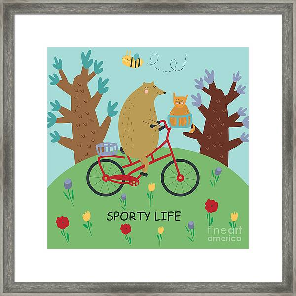 Cute Illustrations Of Bear Riding A Framed Print