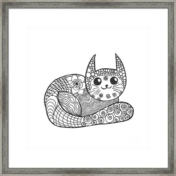 Cute Kitten. Black White Hand Drawn Framed Print