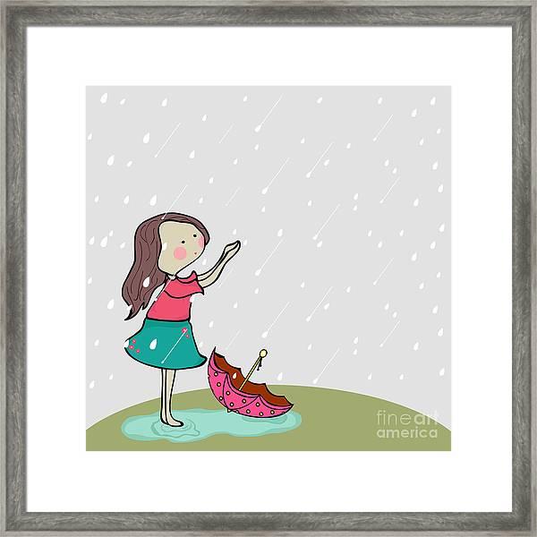 Cute Little Girl Enjoying Rains On Framed Print