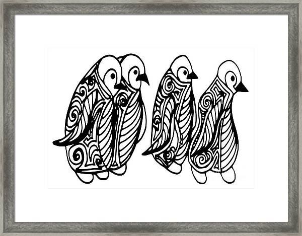 Cute Of Four Penguins. Adult Framed Print