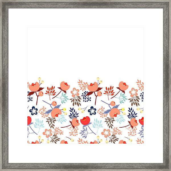 Cute Vector Seamless Pattern With Framed Print