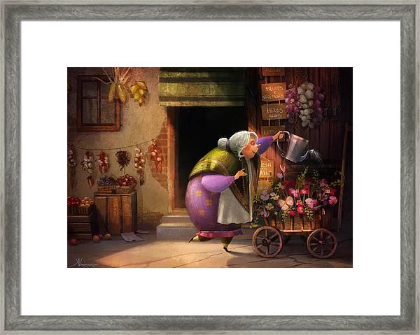 Cute Village Flower Shop Framed Print