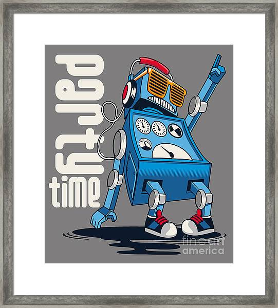 Cute Vintage Dancer Robot, Party, Vector Framed Print