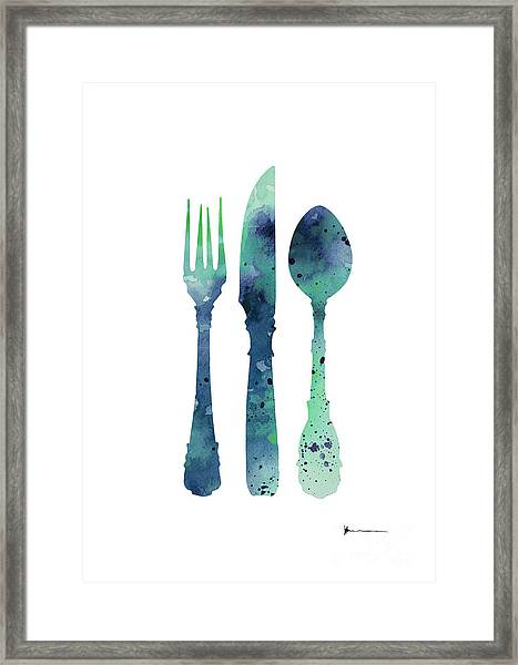 Cutlery Silhouette Art Print Watercolor Painting Framed Print