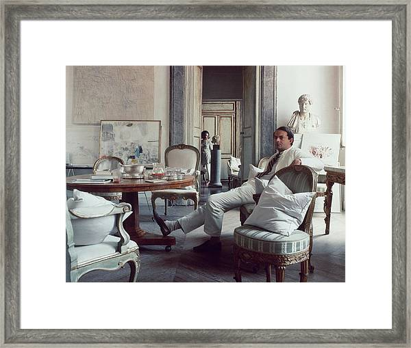 Cy Twombly Sitting In His Apartment Framed Print