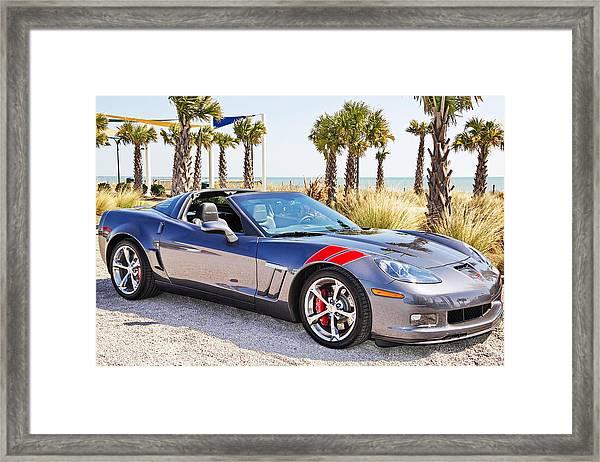 Cyber Gray Grand Sport Corvette At The Beach Framed Print