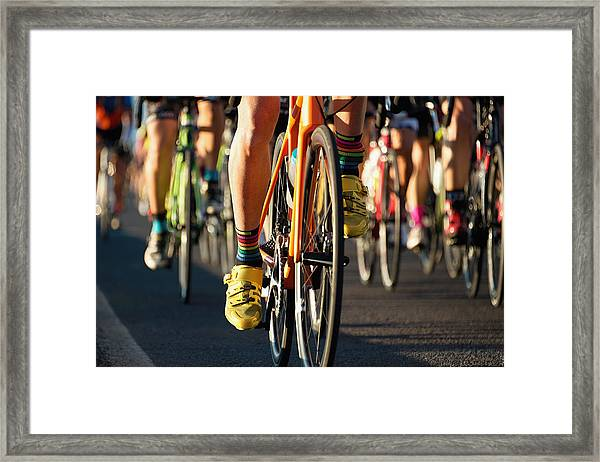 Cycling Competition,cyclist Athletes Riding A Race Framed Print by Pavel1964