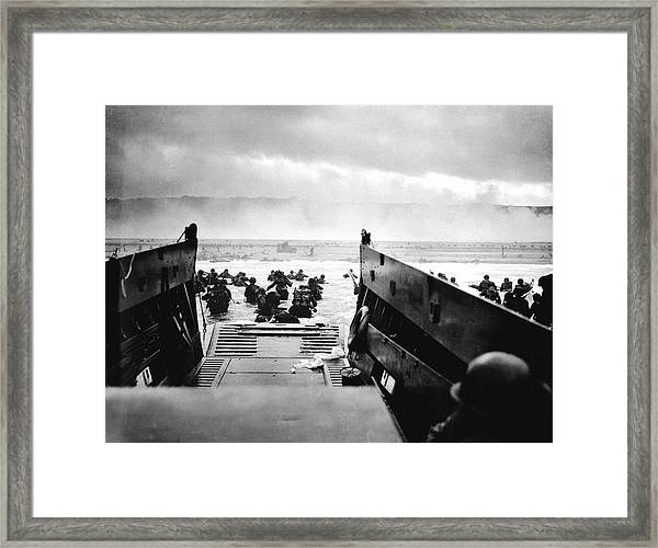 D-day Landings Framed Print by Robert F. Sargent, Us Coast Guard