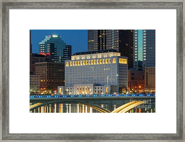 D2l496 Columbus Ohio Night Skyline  Framed Print