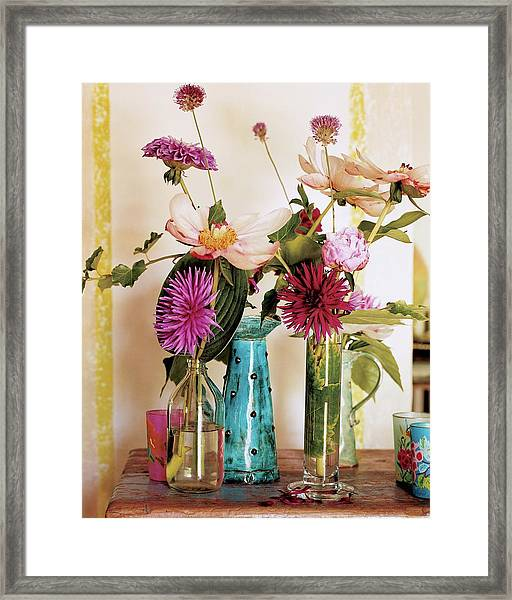 Dahlias And Peonies In Majolica Vases Framed Print