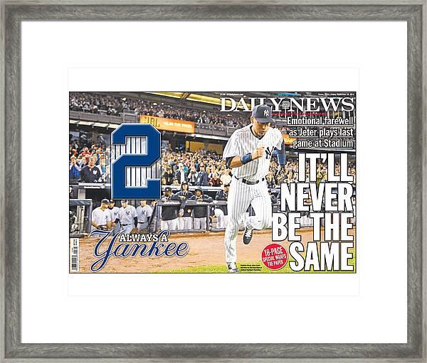 Daily News Front Page Wrap Derek Jeter Framed Print
