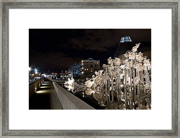 Dale Chihuley Exhibit Outdoors @ Night - Museum Of Glass Tacoma Wa Framed Print