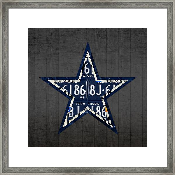 Dallas Cowboys Football Team Retro Logo Texas License Plate Art Framed Print