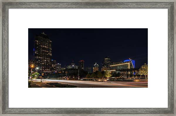 Dallas Night Skyline From Klyde Warren Park Framed Print