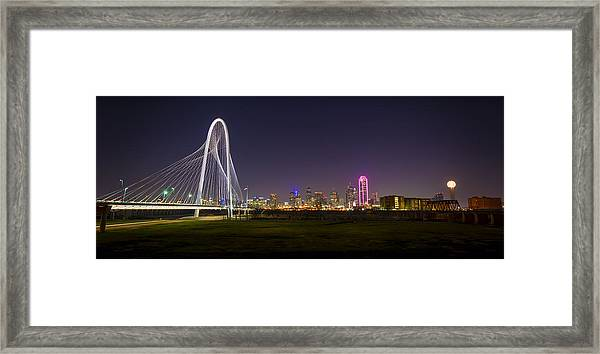 Dallas Skyline And Margaret Hunt Hill Bridge Framed Print