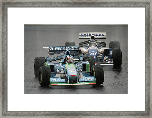 Damon Hill And Michael Schumacher Framed Print by Pascal Rondeau