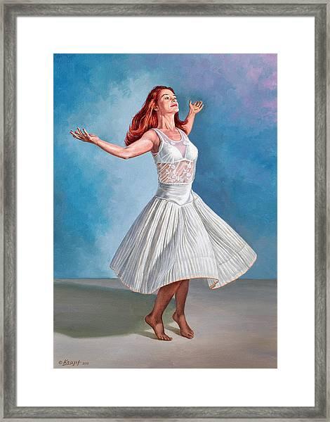 Dancer In White Framed Print