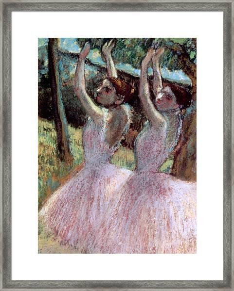 Dancers In Violet Dresses Framed Print