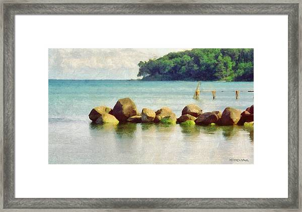 Danish Coast On The Rocks Framed Print