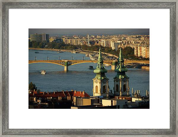 Danube River And Budapest, Hungary Framed Print by Chlaus Lotscher