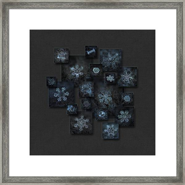 Snowflake Collage - Dark Crystals 2012-2014 Framed Print