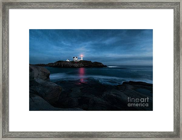 Dark Night At The Nubble Framed Print
