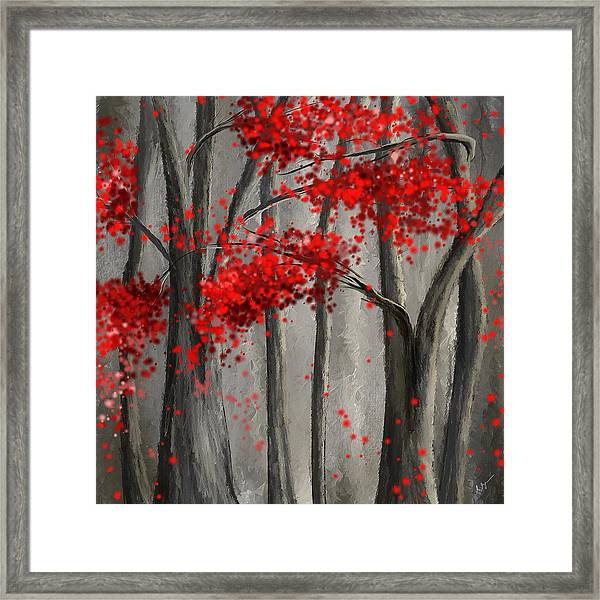 Dark Passion- Red And Gray Art Framed Print
