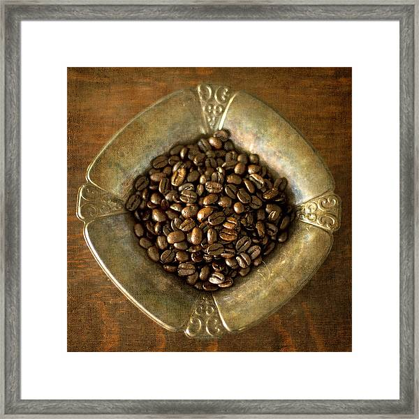 Dark Roast Coffee Beans And Antique Silver Framed Print