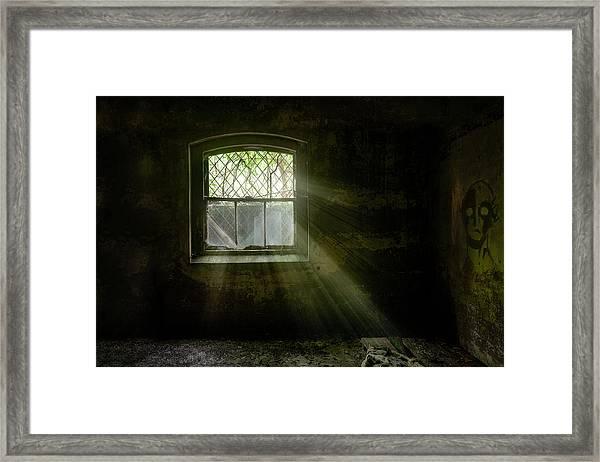 Darkness Revealed - Basement Room Of An Abandoned Asylum Framed Print