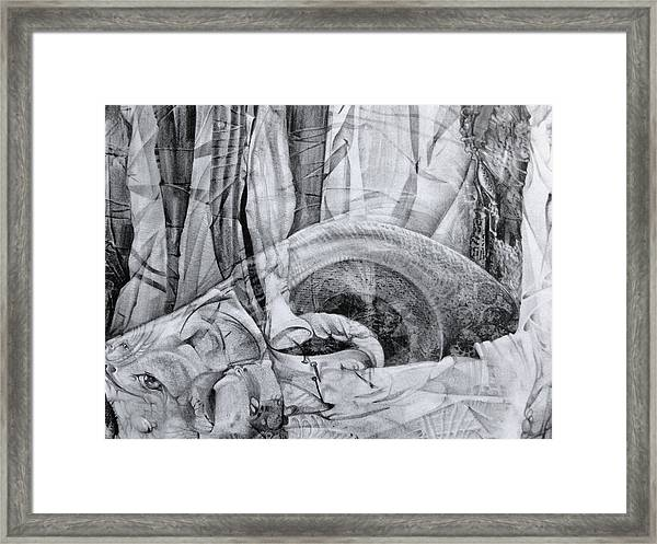 Das Monster Hat Sich Im Ungebuegelten Hintergrund Versteckt Framed Print