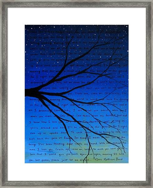 Dave Matthews Band Crush Song Lyric Art Framed Print