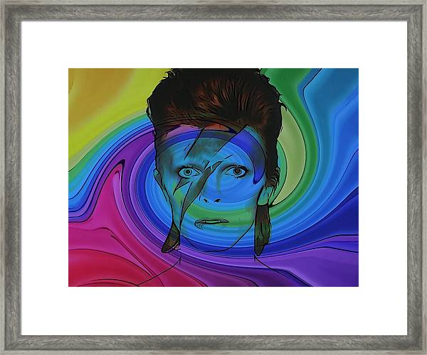 David Bowie Color Swirl Framed Print