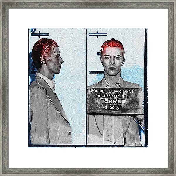 David Bowie Mug Shot Framed Print