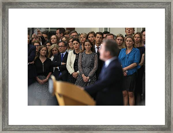 David Cameron's Last Day As The Uk's Prime Minister Framed Print by Dan Kitwood