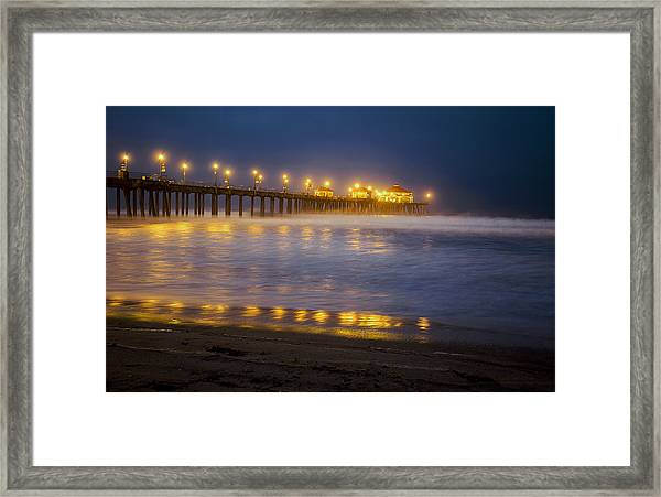Dawn At Huntington Beach Pier By Denise Dube Framed Print